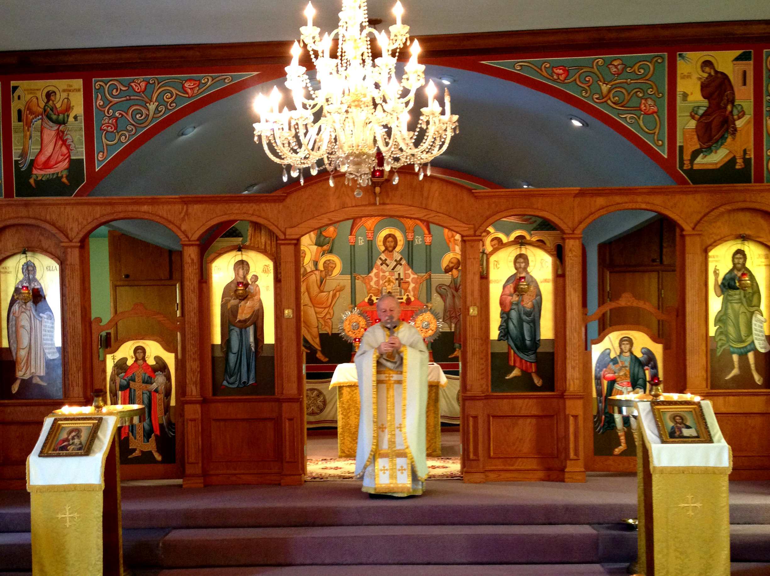 Archpriest Fr. Don Anthony Freude blessing the parishioners after Divine Liturgy celebrated on 9/29/13.